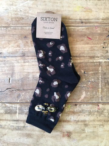 Leopard Luxe Socks in Black by Sixton