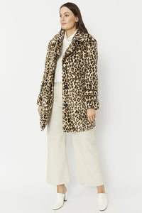 Jayley leopard faux fur coat
