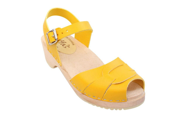 Lotta Clogs Low Peep Toe Yellow