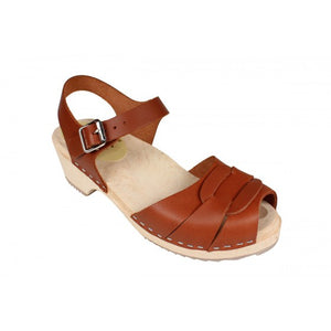 Low wood Peep Toe Oiled Nubuck Leather Clog - Tan