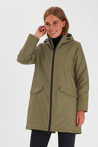 ICHI Rain Coat Olive Green