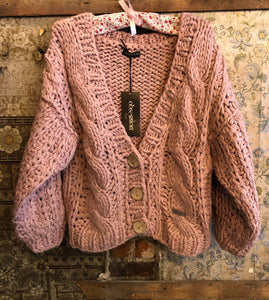 Italian Knitwear - Chunky hand knitted cardigan - pink