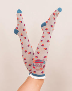 Nerd Bear Knee High Socks Slate by Powder