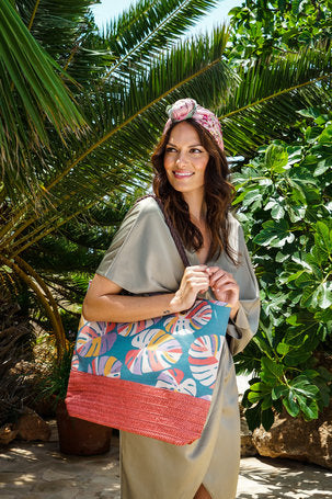 Palm Leaf Print Beach Bag by Powder - Teal
