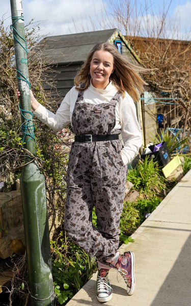Run & Fly Sloth Corduroy Dungarees - Grey