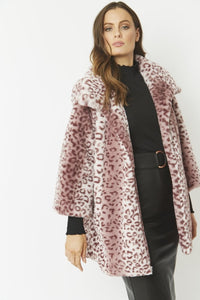 Jayley Pink Leopard faux fur coat