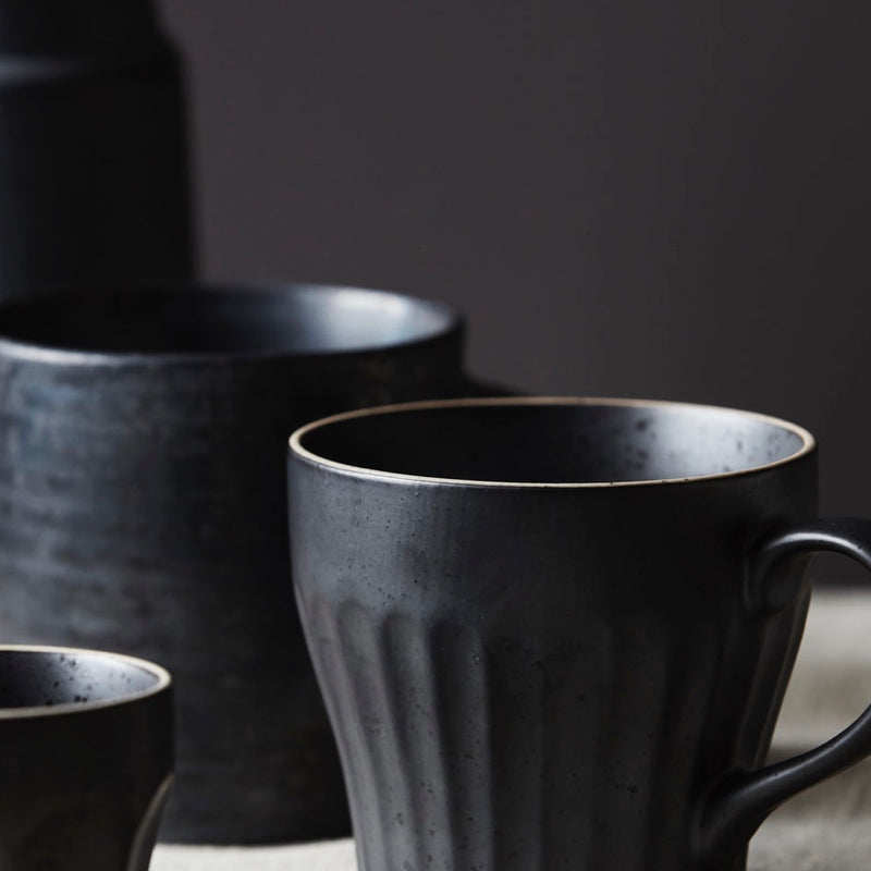 Black Ribbed Mugs - Bagel&Griff