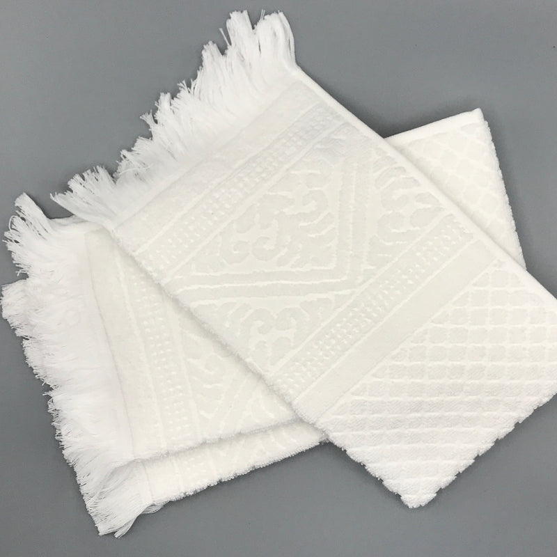 White Fringed Hand Towel - Bagel&Griff