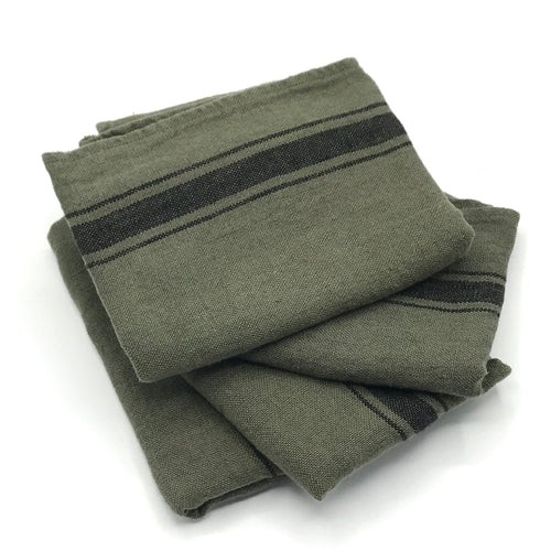 Khaki Green Linen Tea Towel - Bagel&Griff