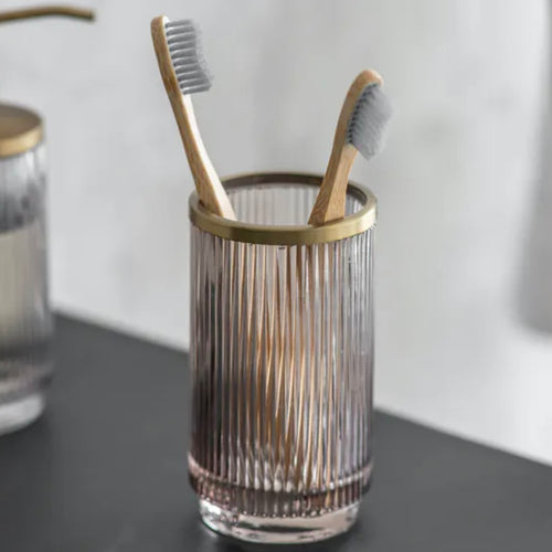 Ribbed Glass Toothbrush Holder - Bagel&Griff
