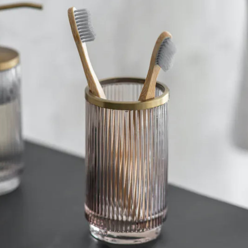 Ribbed Glass Toothbrush Holder