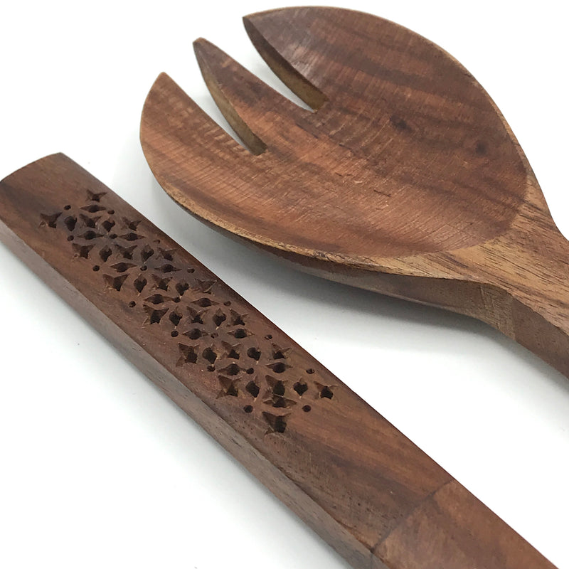 Acacia Wood Salad Servers - Bagel&Griff