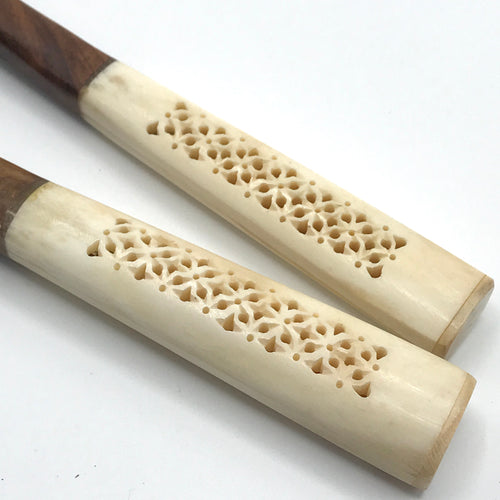 Carved Bone Handle Salad Servers - Bagel&Griff