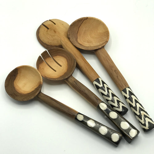 Batik Print Olive Wood Salad Servers - Bagel&Griff