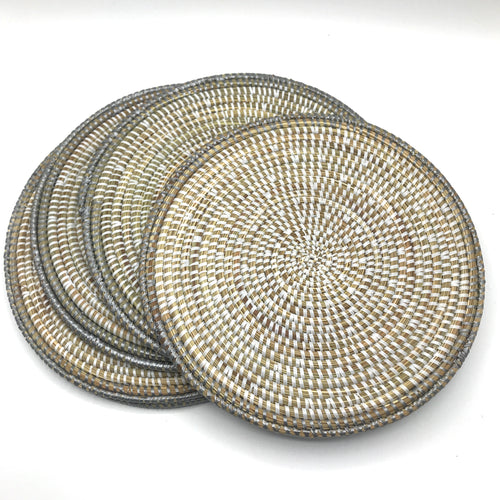 Grey Edged Woven Grass Placemats & Coasters - Bagel&Griff