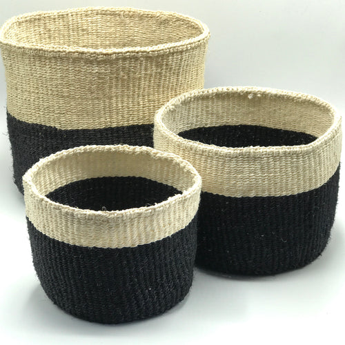 Black & Natural Jute Baskets - Bagel&Griff