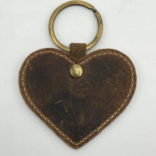 Leather Heart Key Ring - Bagel&Griff