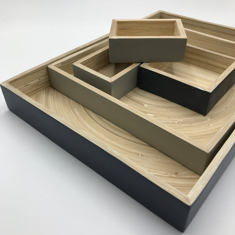 Set of 5 Bamboo Desk Tidy Trays - Bagel&Griff