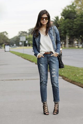 pants pair with a denim jacket