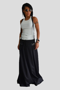 Black Loose Floor Length Skirt with Suspenders - Clothes By Locker Room