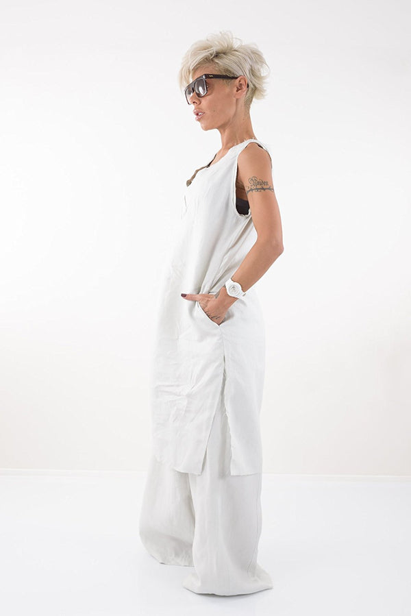 White Long Linen Tunic Dress - Clothes By Locker Room