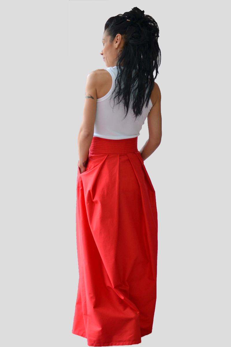Red Autumn Floor Length Cotton Skirt - Clothes By Locker Room