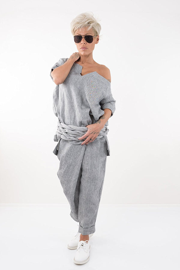 Grey Linen Tunic Shirt with Short Sleeves - Clothes By Locker Room
