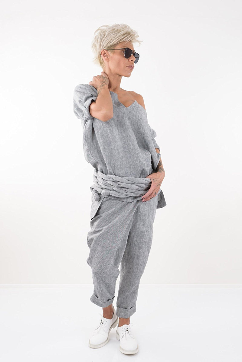 Grey Wide Leg Linen Pants - Clothes By Locker Room