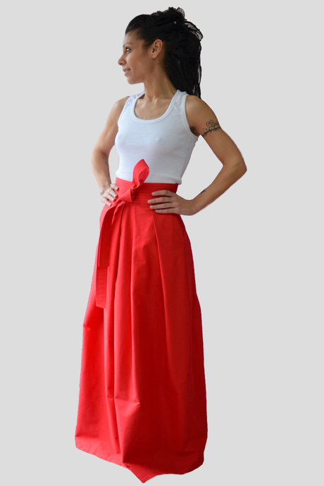 Red High Waist Cotton Skirt with a Tie on the Waistband and Side Pockets - Clothes By Locker Room