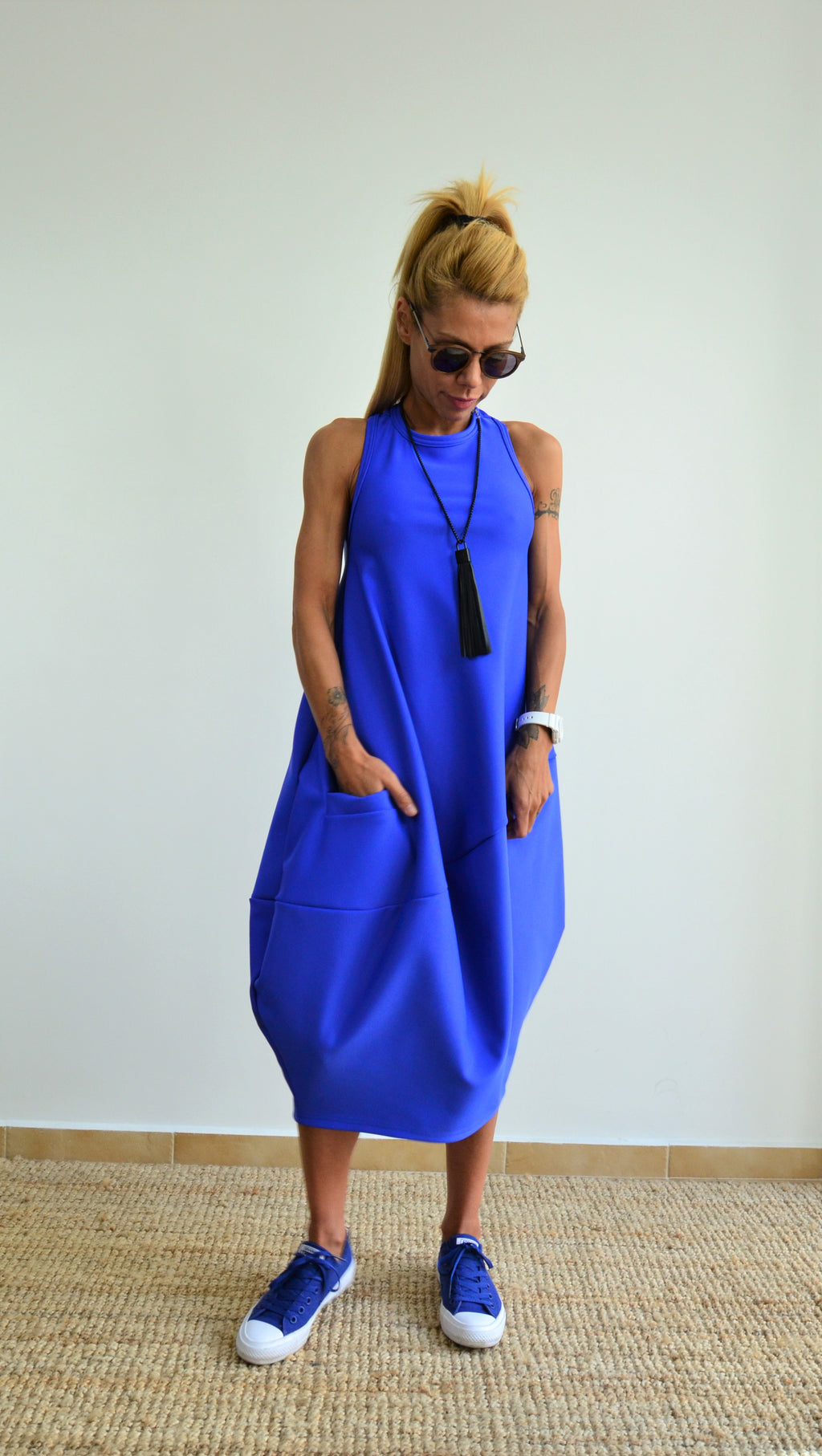 Blue Oversize Neoprene Tunic Dress with a Zipper on the Back - Clothes By Locker Room