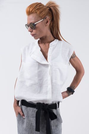 White Linen Loose Shirt Top - Clothes By Locker Room