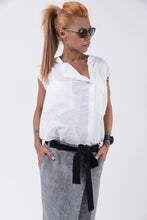 Linen Oversize Loose White Women Shirt Top