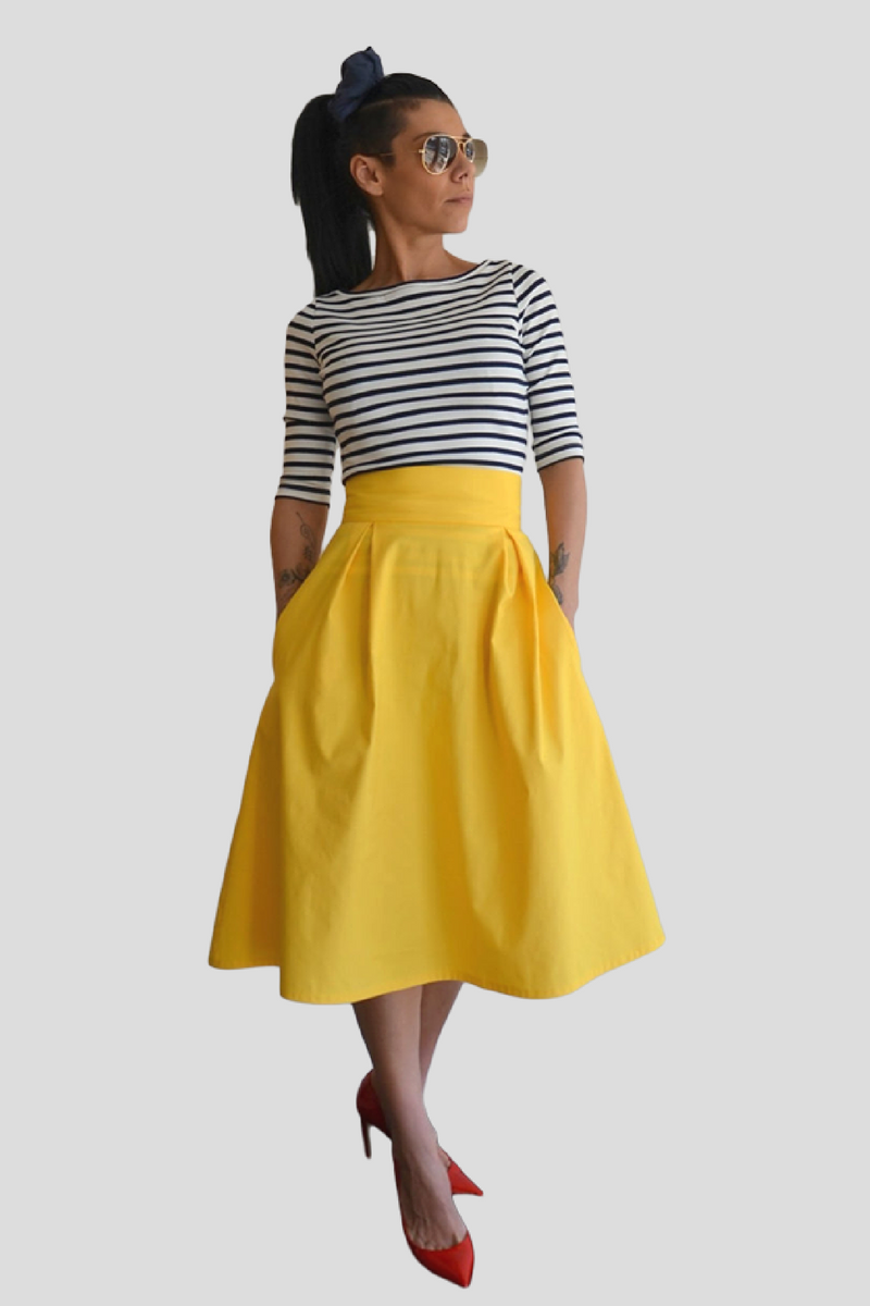A-Line Midi High Waist Skirt - Clothes By Locker Room