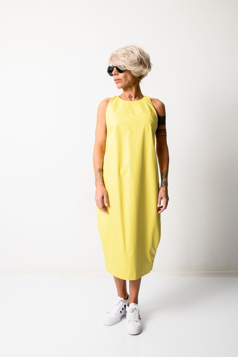 Yellow Leatherette Midi Women Dress