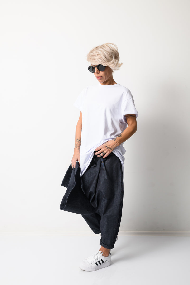 Denim Harem Loose Low Crotch Pants