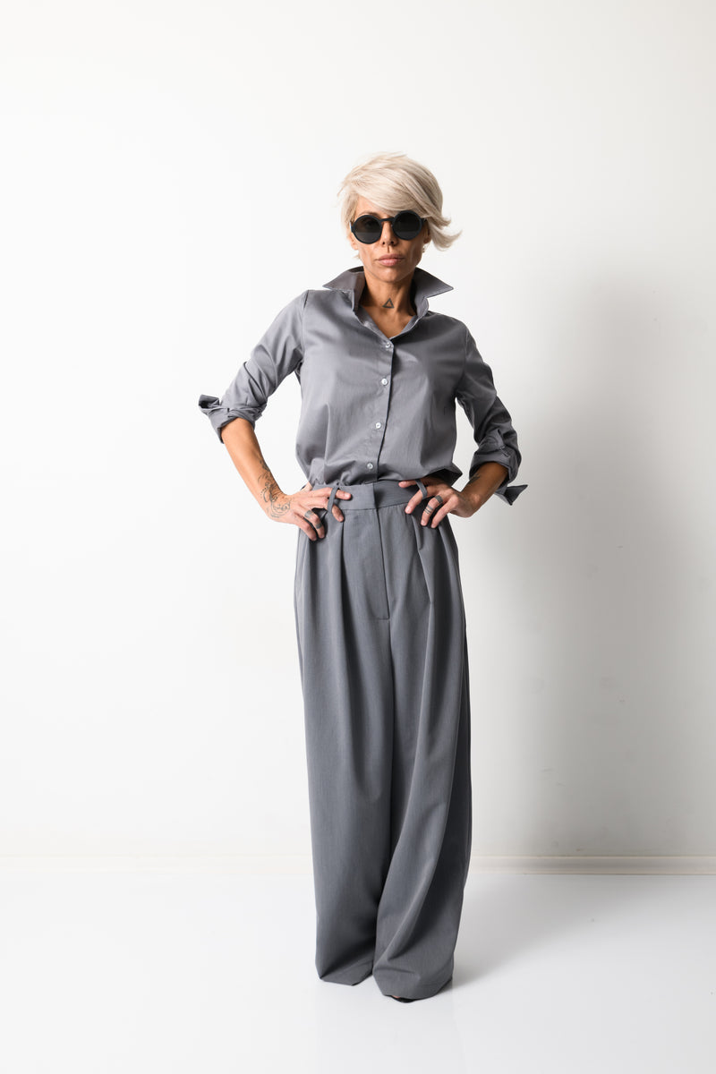 Grey Paperbag Wide Leg Pants with Pockets