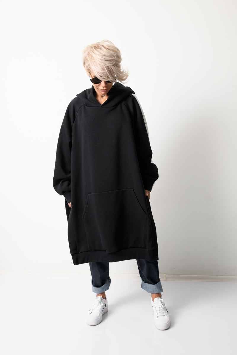 Black and White Loose Oversized Hoodie