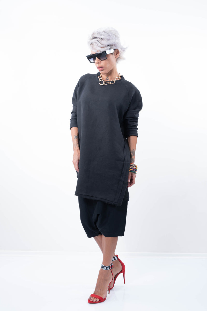 Black Oversize Long Linen Tunic Top - Clothes By Locker Room