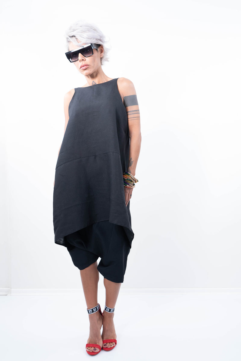 Linen Tunic Top With Open V Back - Clothes By Locker Room
