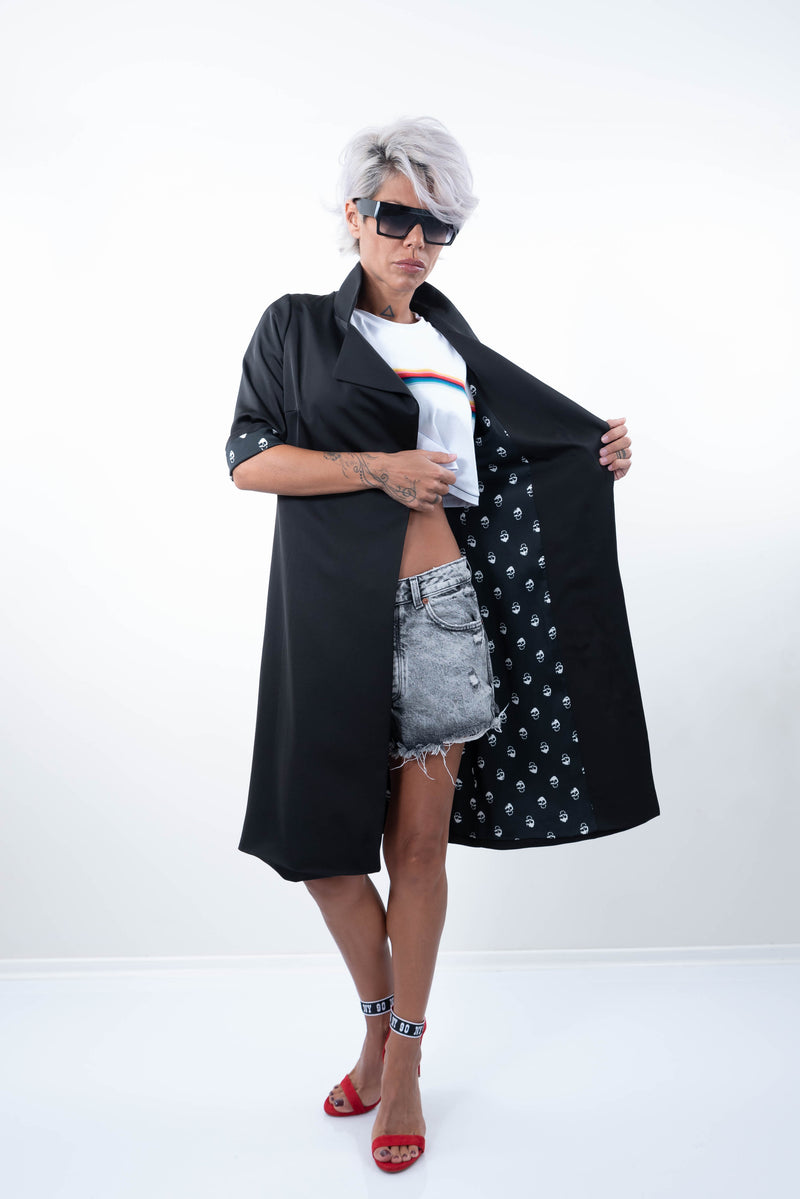 Black Elegant Lined Jacket With High Collar - Clothes By Locker Room