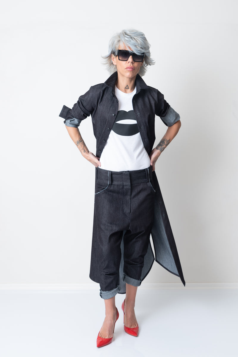 Denim Maxi Loose Long Shirt with Long Sleeves - Clothes By Locker Room