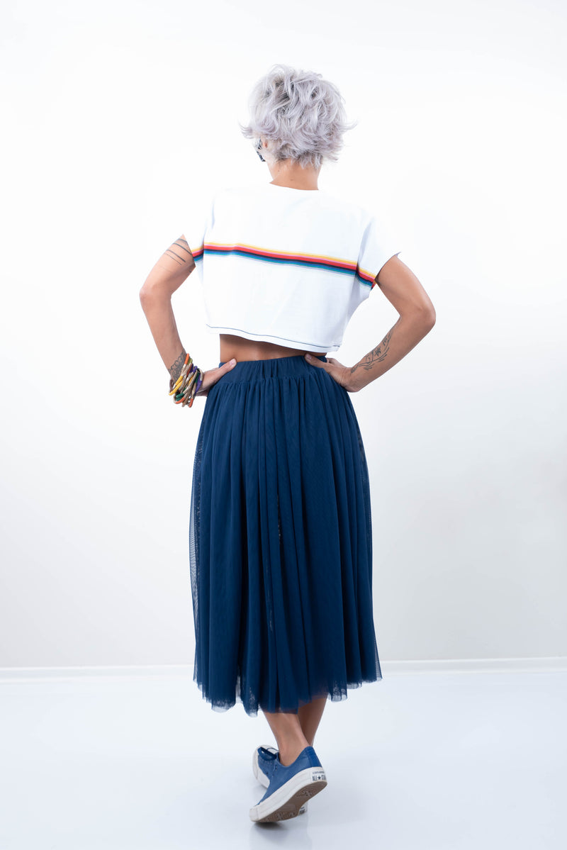 A - Line Navy High Waist Soft Tulle Skirt - Clothes By Locker Room
