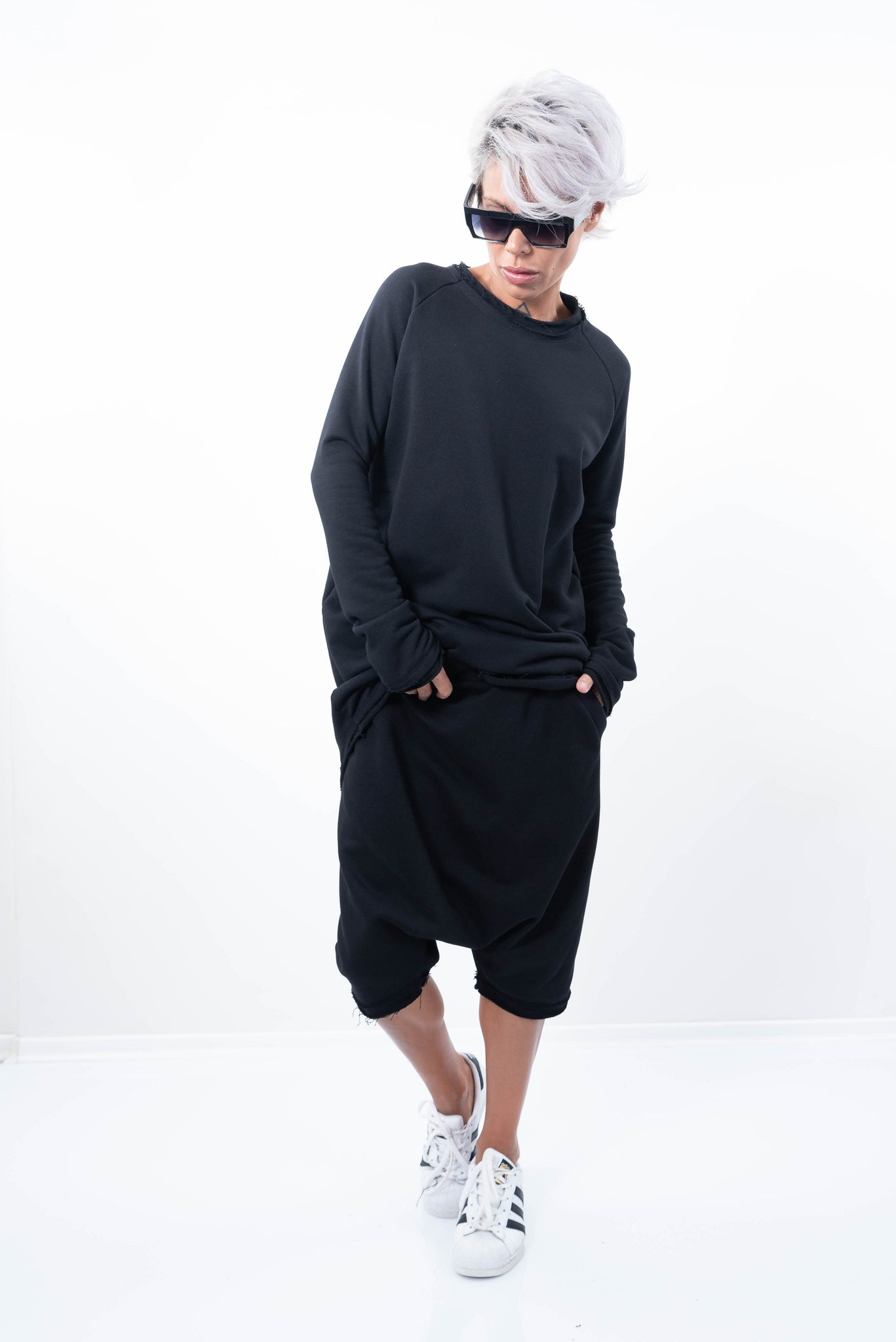Black Oversize Asymmetric Quilted Sweater - Clothes By Locker Room