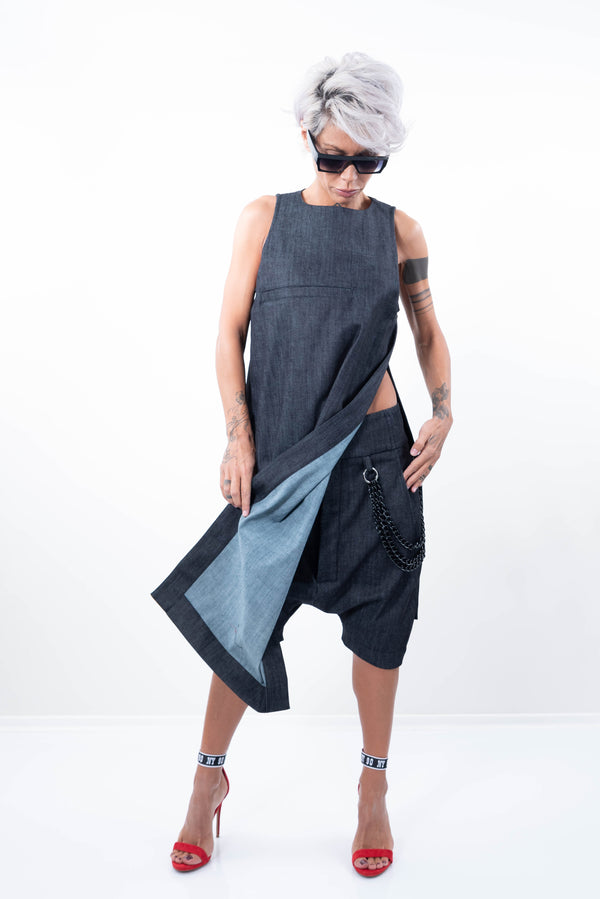 Denim Loose Casual Drop Crotch Harem Pants - Clothes By Locker Room