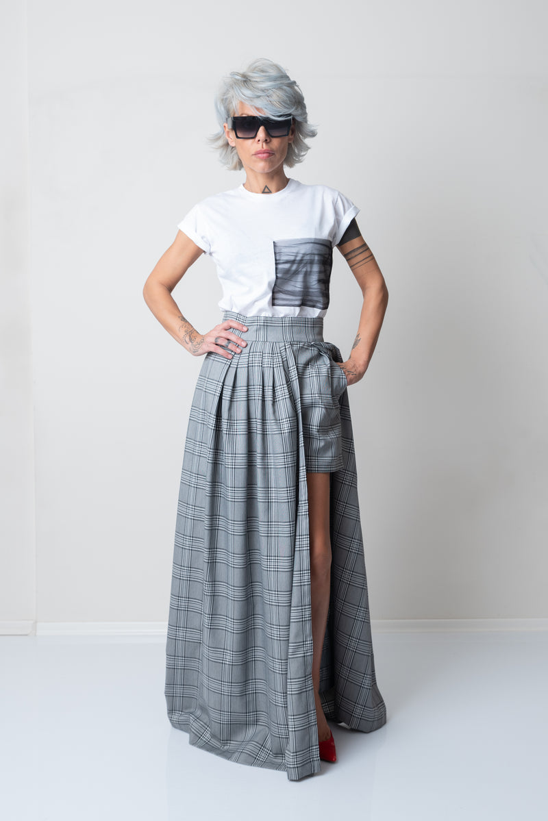 Women Maxi High Waisted Check Long Skirt with Short Pants Underneath - Clothes By Locker Room