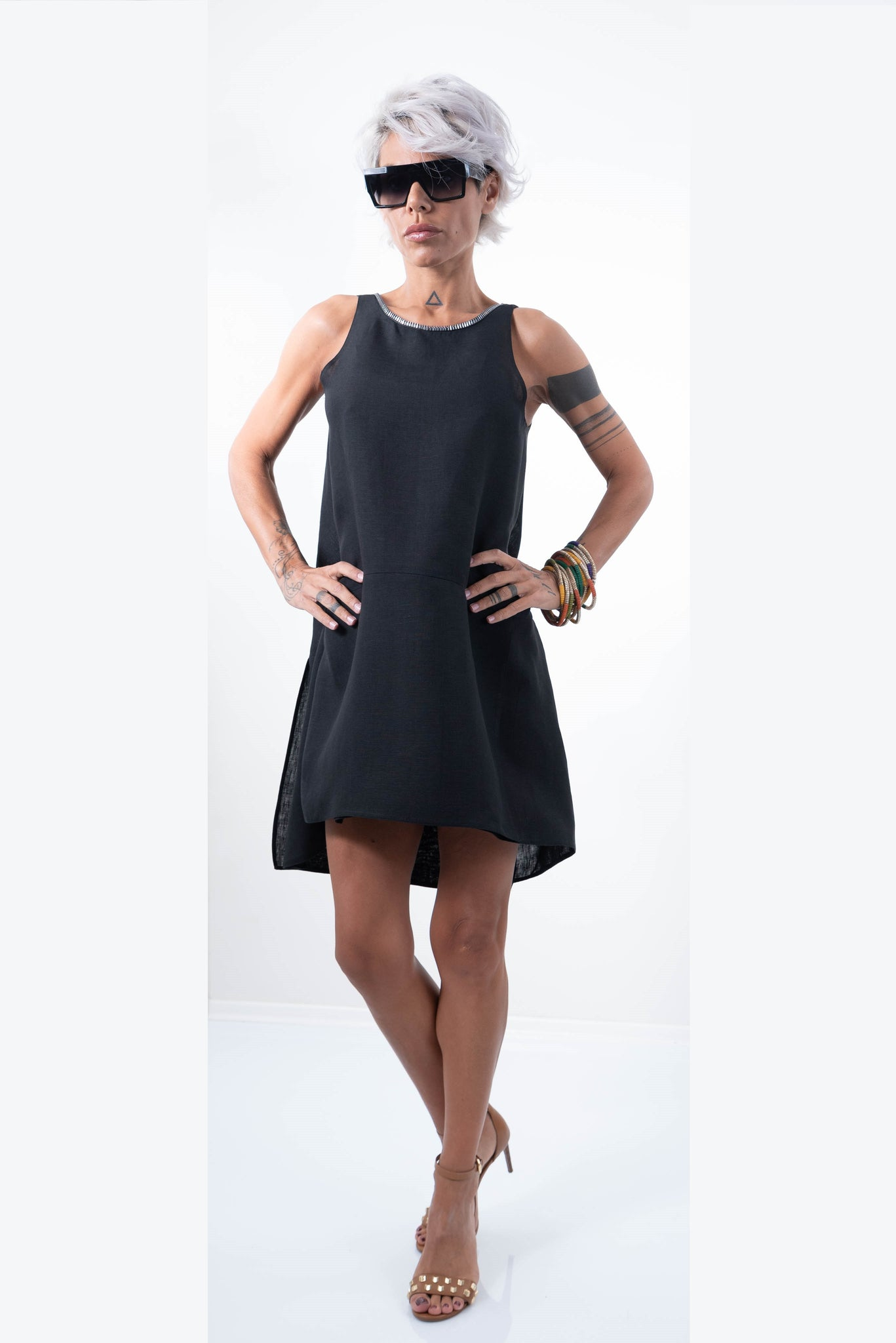 Linen Little Black Oversize Midi Cocktail Wedding Guest Tunic Dress