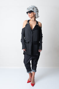 Black Extravagant Satin Jacket with Suspenders and Cold Shoulders - Clothes By Locker Room