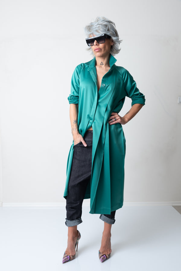 Green Oversized Loose Maxi Satin Shirt with Long Sleeves and Pleats - Clothes By Locker Room
