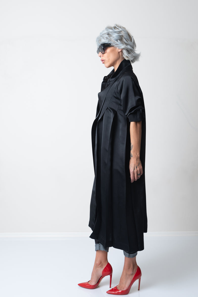 Black Loose Maxi Satin Shirt with Long Sleeves and Pleats - Clothes By Locker Room