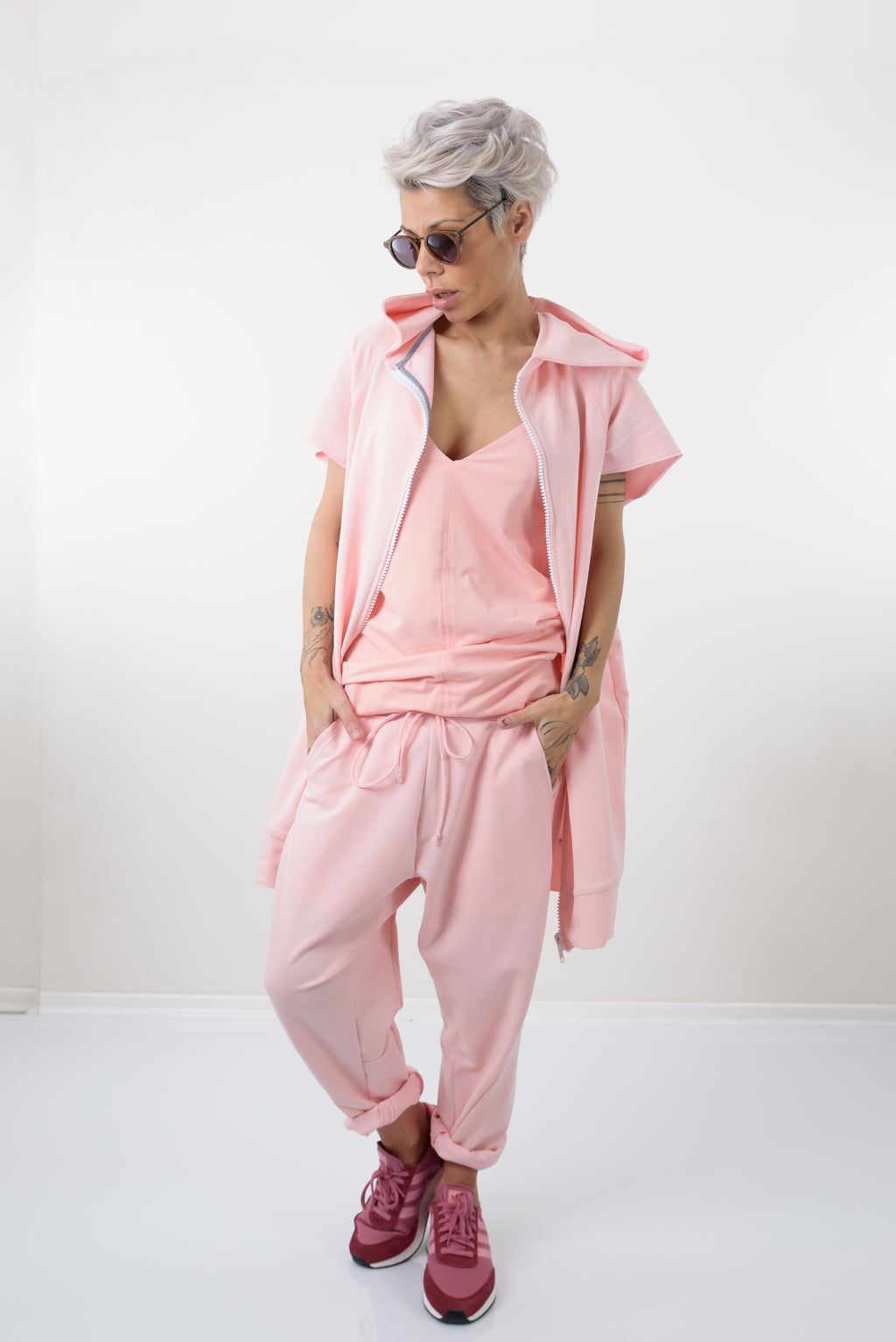 Pink Three Piece Set - Hoodie with short Sleeves, Tank top and Loose Pants - Clothes By Locker Room